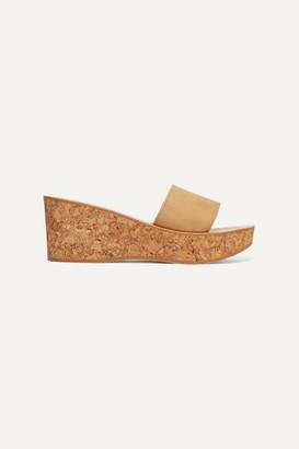 K Jacques St Tropez Kirielle Nubuck Wedge Sandals - Beige