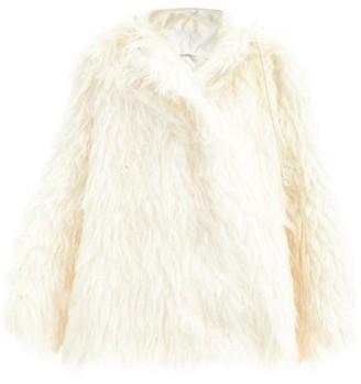 Vika Gazinskaya Oversized Mohair Hooded Coat - White