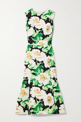Oscar de la Renta Floral-print Faille Midi Dress - Green