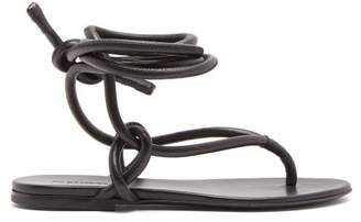 Jil Sander Wraparound Ankle Strap Leather Sandals - Womens - Black