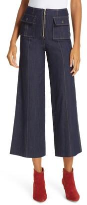 Cinq à Sept Azure Crop Wide Leg Jeans