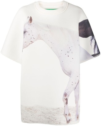 Benetton horse print oversized T-shirt