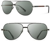 Shwood Men's 'Redmond' 56Mm Titanium & Wood Sunglasses - Black Chrome/ Mahogany/ Green