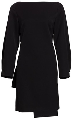 Nina Ricci Boatneck Bow-Back Wool Dress
