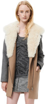 Rebecca Taylor Wool Coat With Shearling Collar