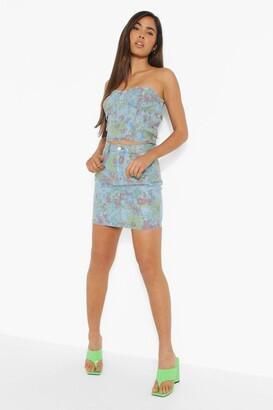 boohoo Vintage Floral Denim Mini Skirt