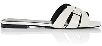 Saint Laurent Women's Nu Pieds Patent Leather Slide Sandals - White
