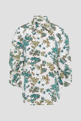 Victoria Victoria Beckham Ruched Floral-print Cloque Shirt
