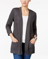 Karen Scott Petite Cotton Open-Front Cardigan, Only at Macy's