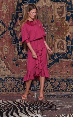 Johanna Ortiz Harlem Renaissance Ruffled Crepe Midi Dress