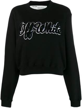 Off-White Off White shearling logo embroidered jumper