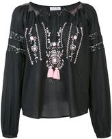 LoveShackFancy Embroidered V-Neck Peasant Top