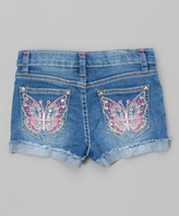 Vigoss Pink Butterfly Denim Shorts - Girls