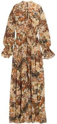 Chloé Metallic Printed Fil Coupe Silk-chiffon Maxi Dress