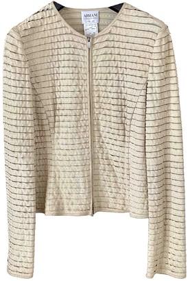 Armani Collezioni Ecru Leather Jacket for Women