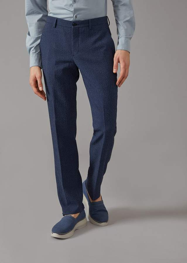 Giorgio Armani Trousers In Checked Seersucker
