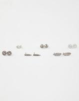 Full Tilt 6 Pairs Feather Rhinestone Earrings