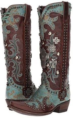 Old Gringo Double D Ranchwear By Double D Ranchwear by Ammunition (Turquoise/Brass) Women's Boots
