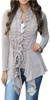 Azbro Women's Chic Flouncing Front Asymmetrical Coat