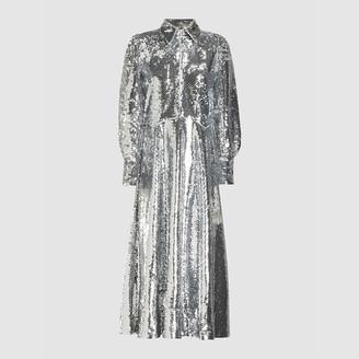 Ganni Metallic Sequin Midi Shirt Dress DK 38