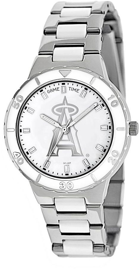 Game Time Pearl Series Los Angeles Angels of Anaheim Stainless Steel & White Ceramic Mother-of-Pearl Watch - MLB-PEA-LAA - Women