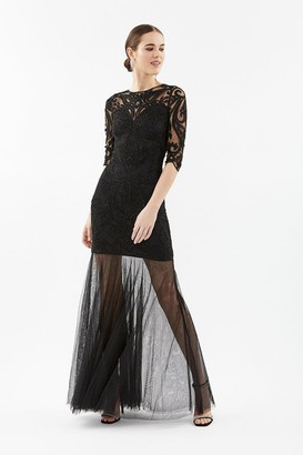 Coast 3/4 Sleeve Sequin Maxi With Fishtail Mesh Hem