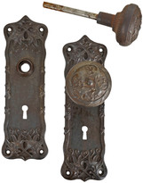 Rejuvenation Cast Iron and Steel Classical Door Set w/ Scrolling Leaf Pattern c1905