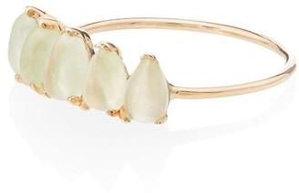 Loren Stewart 14kt gold Phrenite teardrop ring