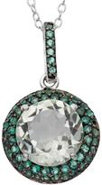 Ice Tiara 4 3/7 CT TW Amethyst Rhodium-Plated Two-Tone Sterling Silver Halo Pendant