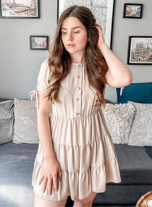 Miss Selfridge PETITE Stone Tierred Smock Dress