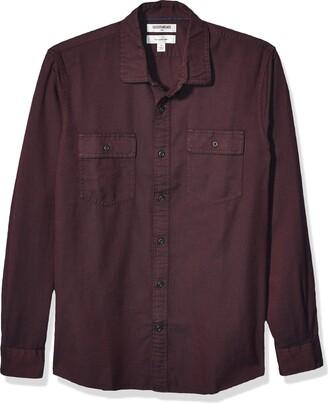 Goodthreads Men's Slim-fit Long-sleeve Plaid Twill Casual Shirt Blue (Rust Navy Rus) X-Small