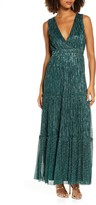 Lulus Falling Star Metallic V-Neck Gown