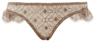 Myla Rosemoor Street Metallic-lace Briefs - Dark Brown