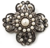Avalaya Vintage Filigree Pearl Cross Brooch (Antique )