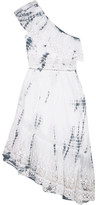 LoveShackFancy - Pamela One-shoulder Tie-dyed Cotton-gauze Dress - White