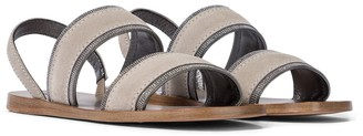 Brunello Cucinelli Embellished suede sandals