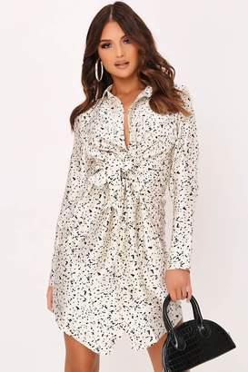 I SAW IT FIRST White Satin Dalmatian Print Shirt Dress