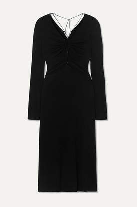 Dion Lee Ruched Cutout Jersey Midi Dress - Black