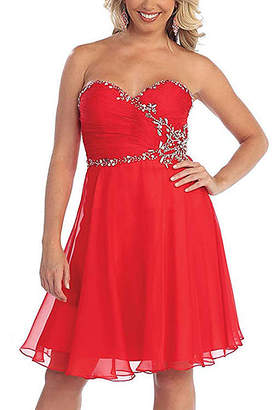 Mayqueen MayQueen Women's Special Occasion Dresses Red - Red Rhinestone Strapless Sweetheart Dress - Women