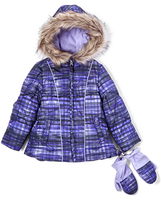 London Fog Purple Plaid Puffer Coat & Mittens - Girls