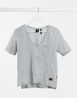 G Star G-Star v neck front pocket detail tee in grey