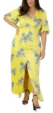 Marée Pour Toi Plus Size Bubble-Sleeve Maxi Dress