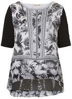Betty Barclay Print and Sequin Tunic Top, Black/White