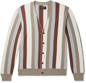 Beams Slim-Fit Striped Cotton Cardigan