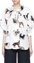 Stella McCartney Tie neck puffed sleeve dog print silk shirt