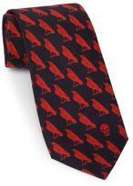 Alexander McQueen Mini Raven Silk Tie