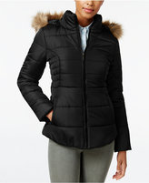 Rampage Faux-Fur-Trim Hooded Ruched Puffer Coat, Only at Macy's