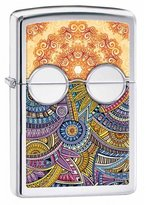 Zippo Boho High Polish Chrome Outdoor Indoor Windproof Lighter Free Custom Personalized Engraved Message Permanent Lifetime Engraving on Backside