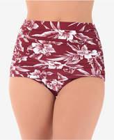Miraclesuit Hibiskiss Printed Shirred High Waist Norma Jean Bikini Briefs Women's Swimsuit