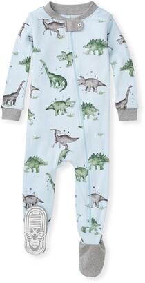 Burt's Bees Happy Herbivores Organic Baby Zip Front Snug Fit Dinosaur Footed Pajamas